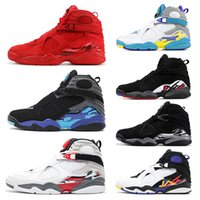 Wholesale 13 playoff resale online - 8 s Mens Basketball Shoes Valentines Day Aqua White Black Chrome PEAT PLAYOFF Mens Trainers Sports Sneaker size