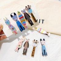 nette karikaturfische großhandel-Boutique ins 5Sets Art und Weise nette Glitter Tierhaarnadeln Bear Dog Kaninchen Fisch Giraffe Cartoon-Haar-Klipp-Prinzessin Kopfbedeckung Haarschmuck