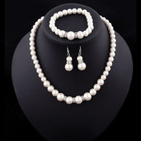 conjuntos de collar artificial al por mayor-Conjuntos de joyería de lujo de la perla de Faux de la boda de la boda falsa perla artificial cadenas collares pulsera pendientes para la joyería de compromiso de las mujeres