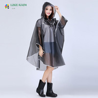 Wholesale transparent waterproof raincoats resale online - LIKE RAIN Motorcycle Bicycle Raincoat New Women Transparent Rainwear Waterproof Hooded Travel Rainsuit Poncho RC04