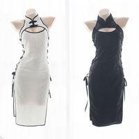 fantasia de vestido de esparguete branco venda por atacado-Mulheres Sexy Cosplay Cheongsam Lingerie Com Tiras Espartilho Camisola Sleepwear Underwear Vestido BrancoPreto