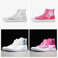 claro skates venda por atacado-Nova Transparente Convase Malha Sapatos de Lona Respirável Luz Material Claro Oi Sapatos de Grife Branco Vermelho Sapatos de Skate Moda Sneakers