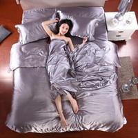 capa de malha de seda tamanho king venda por atacado-100% Pure cetim de seda cama Set Home Textile King Size Bed Sheet Set Roupa de cama edredon cobrir Plano Fronhas