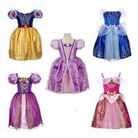 robe rose beige achat en gros de-Bébé fille princesse robe enfants designer jupe filles manches courtes couleur unie lanterne jupe dentelle robe 49