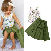 Wholesale baby beach outfits resale online - Ins Summer new Girls Outfits beach Baby Suit floral Vest Shorts long Skirt Kids Sets Girl Dress Suits girls clothes BY1052