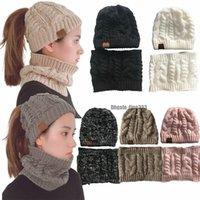 aquecedores de malha pescoço venda por atacado-7 cores de tricô caps set cc chapéus inverno quente cachecol aquecedores de pescoço com chapéu 2 pack-cap e cachecol