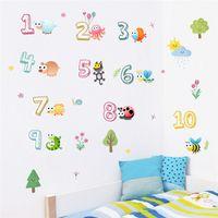 ingrosso decorazioni muri arabe-Simpatici animali con numeri arabi Adesivi murali per scuola materna Aula Camera dei bambini Decorazione domestica Scuola materna Murale Art Decalcomania