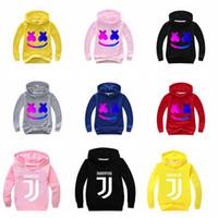 sudaderas de diseño gratis al por mayor-2019 nuevos niños del diseño de sudaderas Marshmello Ropa de DJ Boutique camiseta de los niños de la chaqueta con capucha Escudo envío libre