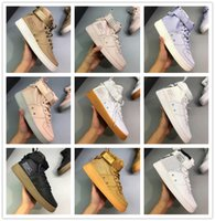 zapatillas blancas de hip hop al por mayor-Forzada de alta superior de cuero con cierre ocasional de la lona de Hip hop de los zapatos corrientes para los hombres de las mujeres Negro Gris Blanco Rosa Luz púrpura de moda zapatillas de deporte