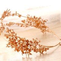 diademas de lujo hechas a mano al por mayor-Filas Accesorios pelo de la boda de lujo de novia de flores de oro tiaras hechas a mano Dos casco nupcial Prom Hairbands Headbands