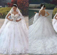 vestidos florales en linea al por mayor-2020 princesa de tul bola de la manera blanca del vestido de boda de los vestidos de boda del cordón de los vestidos de los vestidos de novia capilla tren Vestidos de encargo en línea