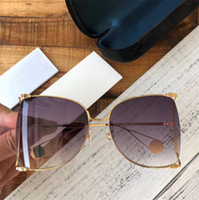 Wholesale pink big lens glasses resale online - Women Oversized Sunglasses Brand Big Frame Sunglasses for Women Pearly Hollow Frame Summer UV400 Protection Sun Glass Come With Case