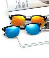 yuvarlak güneş gözlüğü stili unisex toptan satış-Toptan Retro Unisex Güneş Gözlüğü Tam Metal Yuvarlak Ve Yarı Çerçevesiz Tarzı Plastik Çerçeve Süslemeleri Pirinç Perçin