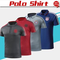 Wholesale polo football online - 2019 Bayern Munich Polo Red Soccer Jersey Bayern Blue Soccer Polo Football Uniforms Grey Sport Shirt Sales