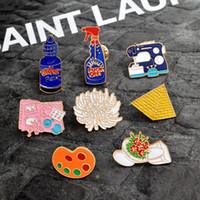 máquina de botón de mano al por mayor-Esmalte alfileres Aseo flor Máquina de coser Paleta pirámide pintura Herramientas de mano Broche Botón Pin Chaqueta de mezclilla Pin Insignia Joyas de regalo