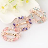 kelebek saç düğün mücevherat toptan satış-1 ADET Moda Kızlar Barrette Kelebek Tokalar Kristal Rhinestone Çiçek Kadınlar Saç Klip Barretes Saç Aksesuarları Düğün Saç Takı