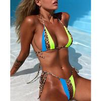 string micro bikini بالجملة-ليوبارد البيكينيات 2019 موهير Biquini النيون الأخضر سلسلة التعادل صغيرة بيكيني مثير ثونغ ملابس السباحة رفع مايكرو السباحون