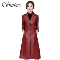 элегантная женская кожаная куртка оптовых-Women Long Faux Leather Jacket 2019 Spring  Plus Size 5XL Ladies Elegant Solid Slim PU Leather Jackets Female Trench Coats