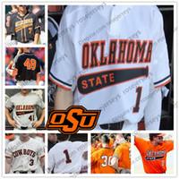 camiseta de béisbol 55 al por mayor-Oklahoma State Cowboys # 1 Hueston Morrill 2 Christian Funk 12 Carson McCusker 55 Peyton Battenfield 46 Jordy Mercer Blanco Negro OSU Jersey
