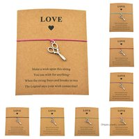 Wholesale love scissors resale online - New Handmade Hairstylist Scissors Charm Love Card Friendship Bracelets For Women Men Adjustable Jewelry Gifts