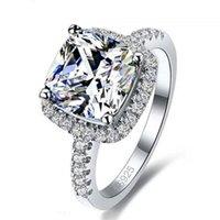 gemas llenas de oro al por mayor-Anillo de lujo 925 lleno de plata esterlina blanco Zafiro Gema Zirconia oro Mujeres Anillo de compromiso de boda anillo de regalo EE. UU. 5/6/7/8/9