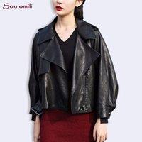schwarze lederjackenkette großhandel-Übergroße Boyfriend Lederjacke Damen Schwarze Jacke jaquetas couro Casaco chaquetas Chain Pink Grey Blouson Jack