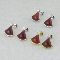 Wholesale heart shaped agate stone for sale - Group buy Natural Stone Black Agate Fan Shape Arc Stud Earrings With CZ For Women Rose Yellow Gold Plated White Red Green Colors New Fashion Jewelry