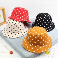 Wholesale black baby girl hats caps resale online - New Toddler Baby Boys Girls Dot Printing Pattern Bucket Hats Kids Sun Helmet Cap Children Dot basin hat panama fisherman hat
