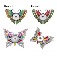 Wholesale copper enamel insect jewelry for sale - Group buy 18mm Snap Buttons Brooch Enamel Rainbow Butterfly Brooch Pin Nice Women Noosa Chunks Jewelry Mix Styles