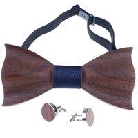 accessoires de mode en bois achat en gros de-1set Cravate En Bois De Poche Place Bouton De Manchette En Bois Cravate Noeud De Mariage De Mode En Bois Cravates Noeud Ensemble En Bois Hommes Accessoires