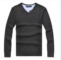 gömlek ipliği toptan satış-2018 Kış tempo ısınma o-uk İtalya marka yeni Moda erkek T-Shirt tek iplik taşlı döngü yuvarlak yaka kazak 7 renk boyutu S-2XL