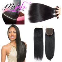 tipos de cabelos indianos venda por atacado-Remy Cabelo Weaving Extensão Tipo Raw Não Transformados Cabelo Indiano Virgem Cabelo Liso Três Bundles com Fecho