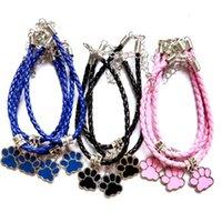 pulseira de couro do cão venda por atacado-20pcs / Lot esmalte da pata do cão impressão Bracelet Bangle tibetano prata pingentes tecido pulseira de couro para mulheres menina moda presente da jóia Amizade