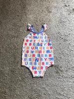kız mayo ücretsiz gönderim toptan satış-Ücretsiz kargo Yürüyor çocuk Sevimli mayo bikini 2019 ruffles Tek parça banyo kostüm mayolar spor Bebek Kız