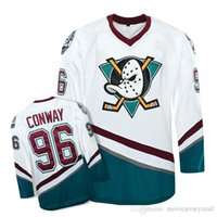 Wholesale Mighty Ducks Movie Jersey Charlie Conway Hockey Jerseys Green White Purple Stitched Throwback Jerseys S XXXL