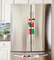 yılbaşı dekor mutfağı toptan satış-3PCS / Set Kardan Adam Mutfak Aletleri Kol Noel Dekor Mutfak Araçları Mikrodalga Kapı Buzdolabı Kolu Setleri Kapaklar