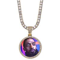 jóias que fazem correntes venda por atacado-14 K Custom Made Foto Rodada Medalhões Colar De Pingente Com 3mm 24 polegadas Cadeia de Corda de Prata Cor de Ouro Zircão Homens Hiphop Jóias