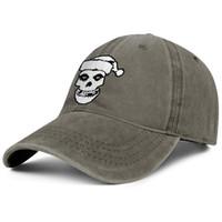 gorras de calavera vintage al por mayor-Hombres Mujeres vintage Sombrero de mezclilla lavar Ajustable The Misfits Skull Stencil sombreros de pesca personalizados llanura papá tapas al aire libre