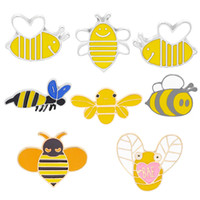 Wholesale emerald green accessories resale online - 8 styles Fashion Brooches Cartoon Cute Bee Fly Insect Brooch Kids Girls Clothes Accessories Black Yellow Enamel Pin Birthday Gift Jewelry