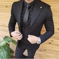 blazer designs para casamento venda por atacado-2019 Mens ternos Slim Fit pico lapela um botão de casamento smoking Prom Man Blazer Designs (Jacket + Pants)