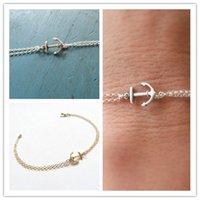 chaîne double fermoir achat en gros de-Européen Américain Simple Mode Vintage Ancre Bracelet Unique Double Couche Chain Galvanisé Or Argent Lobster Clasp Est Durable Durable