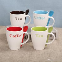 Wholesale hot cup coffee resale online - Ceramic Handle Water Cup Multicolor Heat Resistant Coffee Mugs Gift High Capacity Tea Tumbler Practical Originality Hot Sale cxb1