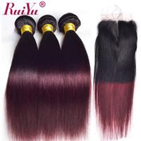 faisceaux de cheveux brésiliens à deux tons achat en gros de-Ruiyu Ombre Bundles de tissage de cheveux raides brésiliens avec fermeture 1B / tricolore bourgogne couleurs trames de cheveux humains avec fermoir 99J vin rouge