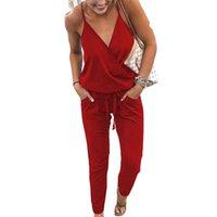 ingrosso jumpsuits per le dimensioni delle donne-New Sexy Lady con scollo a V Spaghetti Strap Tute da donna senza maniche Solid Slim Tasche Pagliaccetti Tute estive Club Plus Size Gv039 Y19060501