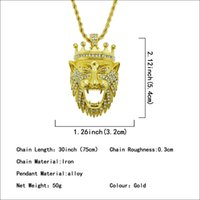 Wholesale gold lion head charms resale online - Hot Mens Hip Hop Jewelry Iced Out Gold Plated Fashion Bling Bling Lion Head Pendant Men Necklace Gold Filled For Gift Present