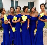 Wholesale zipper girls for sale - Group buy African Royal Blue Mermaid Bridesmaids Dresses New Off The Shoulder Floor Length Black Girl Long Bridesmaid Dress For Wedding Gowns