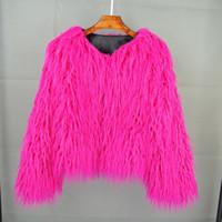 manteaux d'hiver colorés femmes achat en gros de-Coloré Boho Furry Faux Manteau Manteau O-cou Plus La Taille Femmes Manteaux De Fourrure Automne Hiver Rose Faux Shaggy Veste