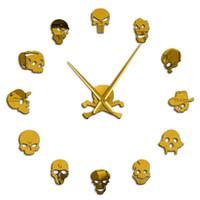arte para paredes grandes venda por atacado-Chefes diferentes chefes do crânio DIY Horror Wall Art gigante Wall Clock Big Needle Frameless Zombie Large Wall Assista Decor Halloween