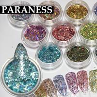 nagellack gemischte farben großhandel-Paraness Nail Glitter Mix Farben DIY Dekoration Werkzeuge Nail Art UV Fine Glitter DustGel Polish Acryl