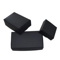 ingrosso vari gioielli-50pcs / lot varie dimensioni nero Boutique pacchetto Kraft Paper Box pieghevole scatole di carta artigianale per la decorazione di gioielli regalo di nozze scatola di immagazzinaggio